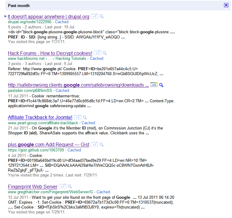 Search results including SIDs