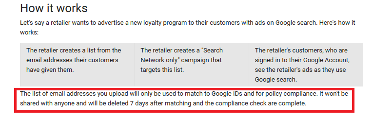 Customer Match conditions from https://support.google.com/adwords/answer/6276125