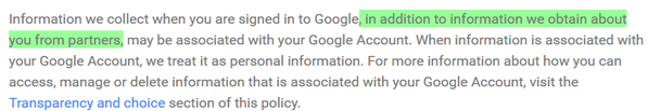 Change made to google's privacy policy on August 19th