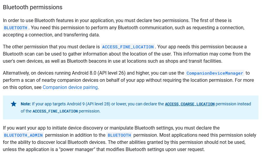 Extrait de la documentation bluetooth